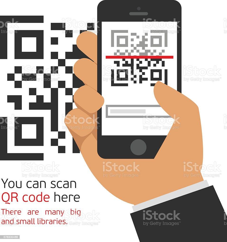 Mobile phone reads the QR code. vector art illustration