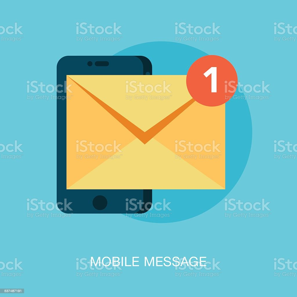 mobile phone receiving a new message vector art illustration