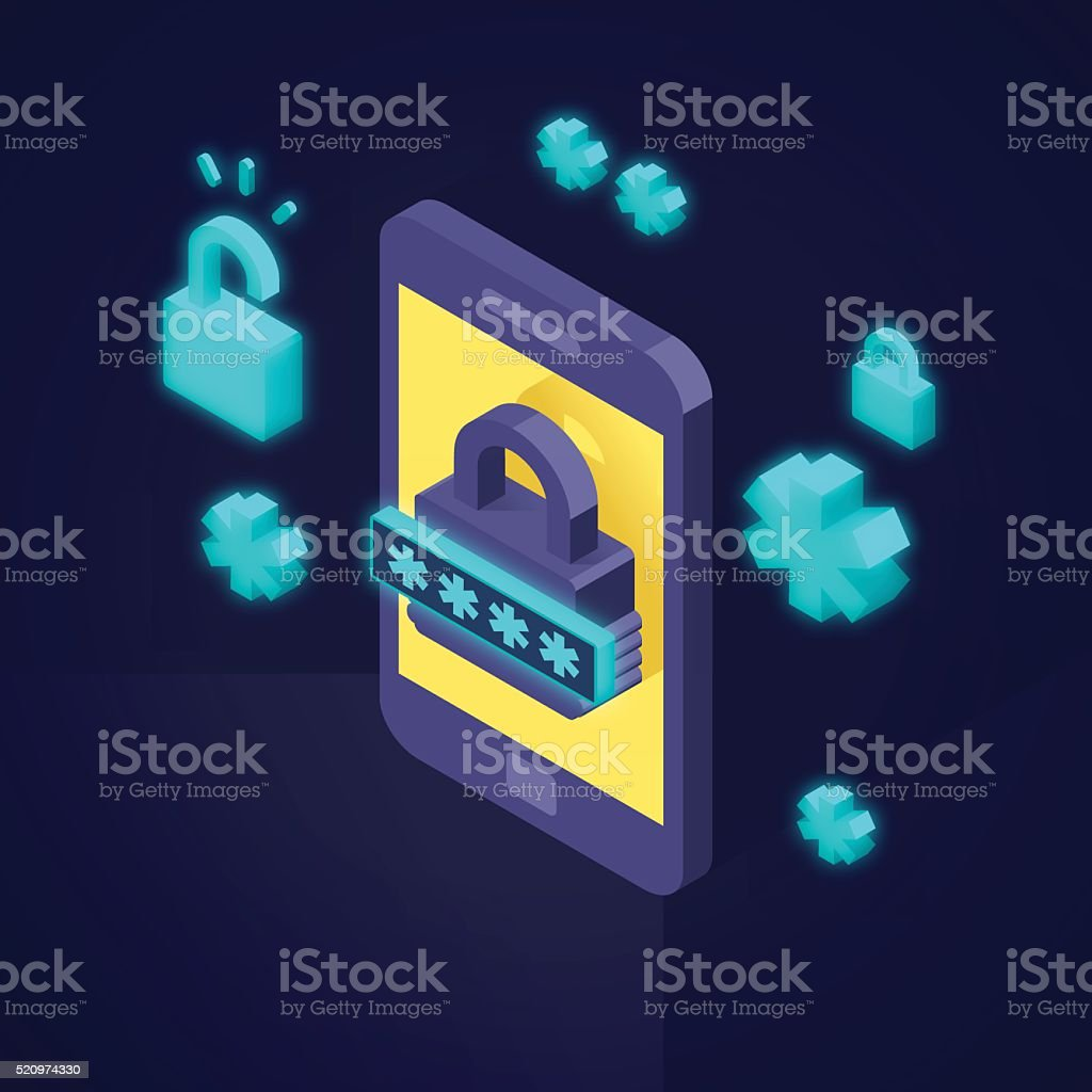 Mobile Phone Security vector art illustration