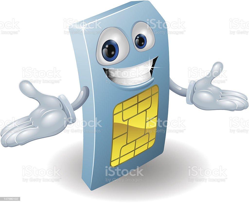 Mobile phone sim card mascot vector art illustration