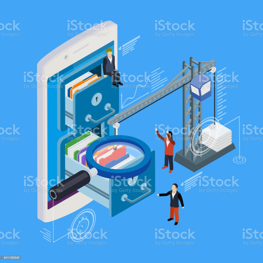 Mobile phone storage flat 3d isometric vector vector art illustration