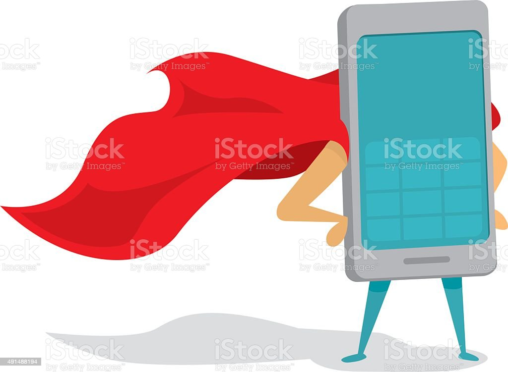 Mobile phone super hero with cape vector art illustration