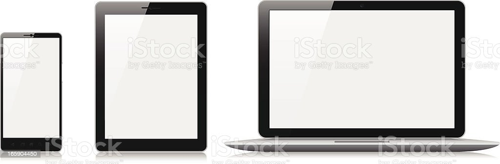 Mobile phone, tablet and laptop with blank screens royalty-free stock vector art