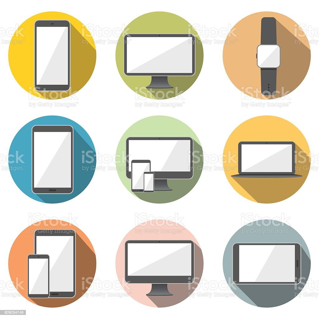 Mobile Phone, Tablet Computer, Computer Screen, Laptop, Watch Flat Icons vector art illustration
