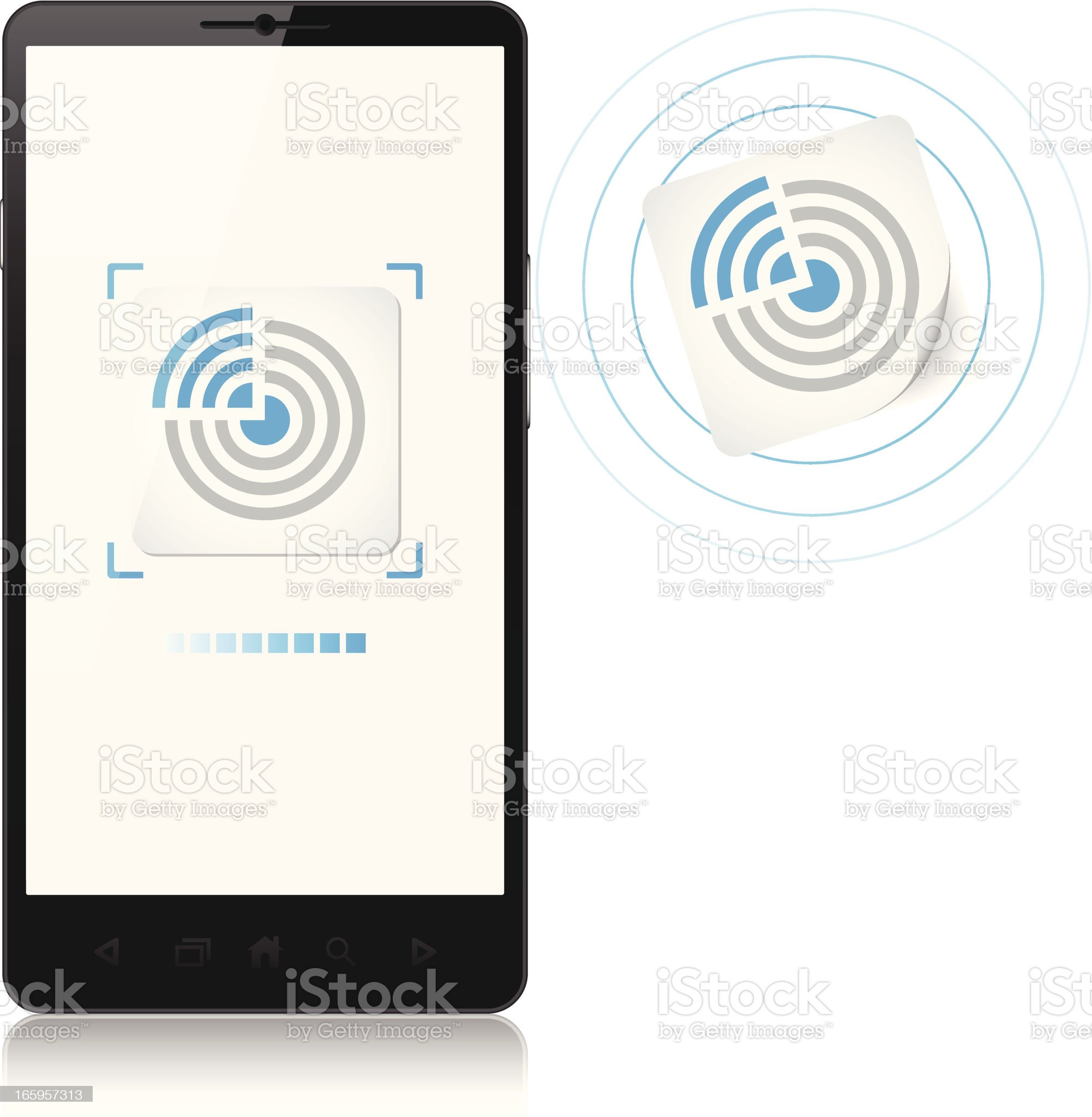 Mobile phone, tag NFC, new contactless technology royalty-free stock vector art