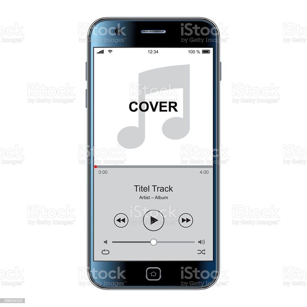 Mobile phone template for music cover vector art illustration