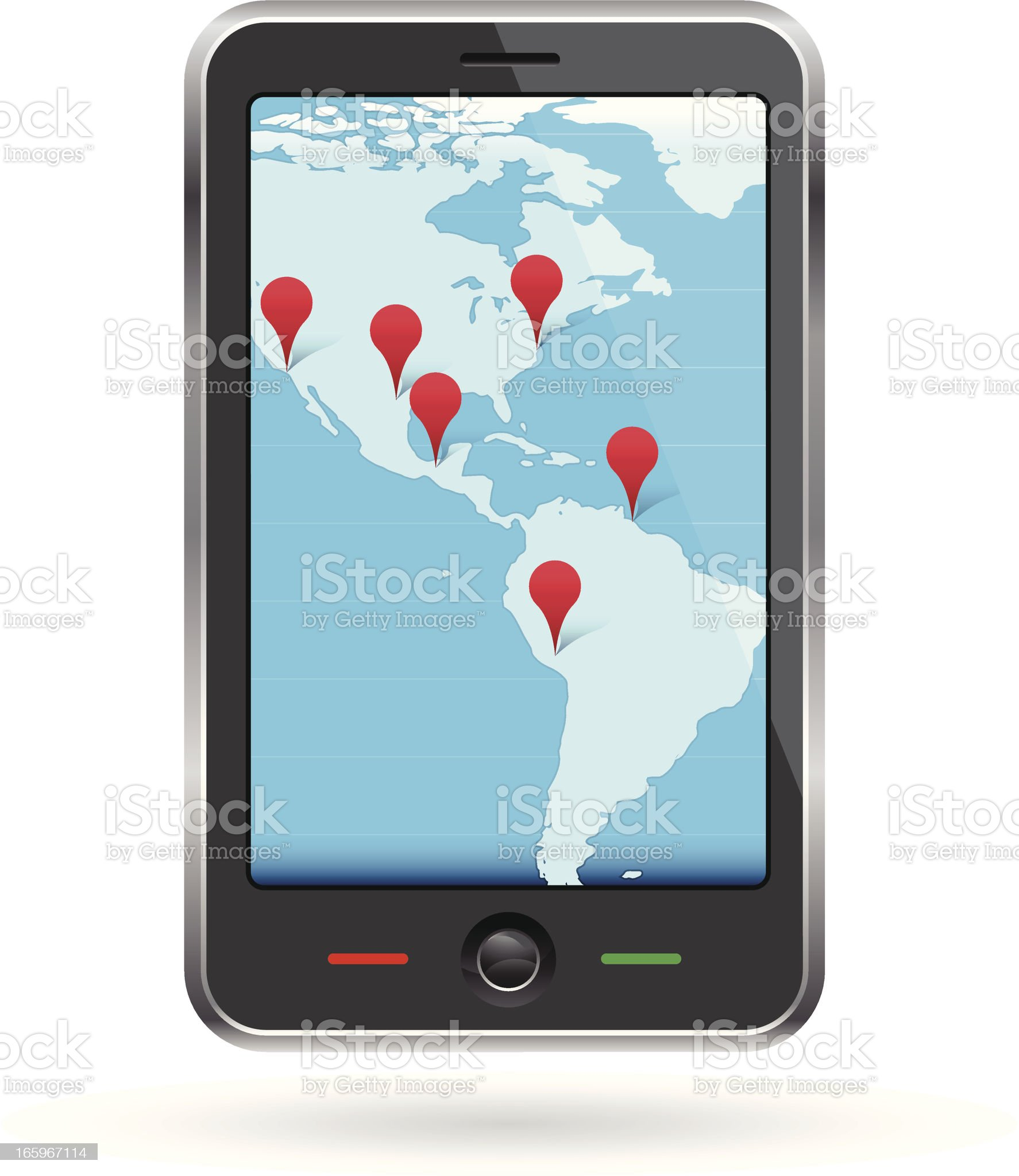 Mobile phone travel map with red pins royalty-free stock vector art