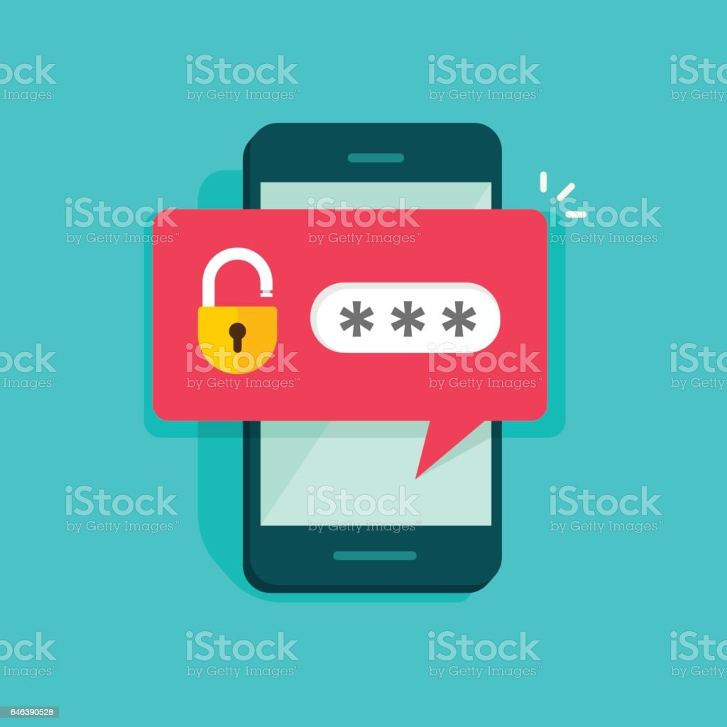 Mobile phone unlocked notification button and password field vector, concept of smartphone security vector art illustration