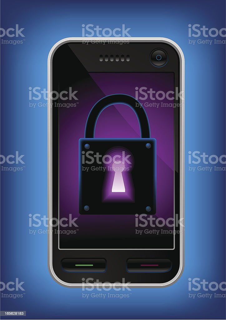 Mobile phone with a glowing lock on it's screen royalty-free stock vector art