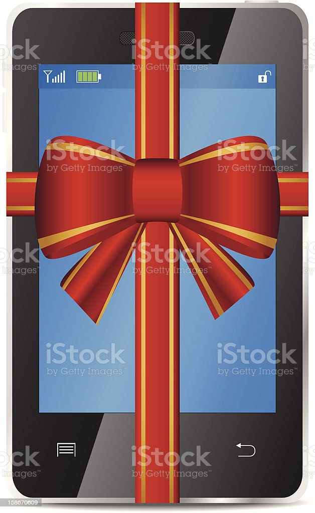 Mobile phone with gift red bow and ribbon royalty-free stock vector art