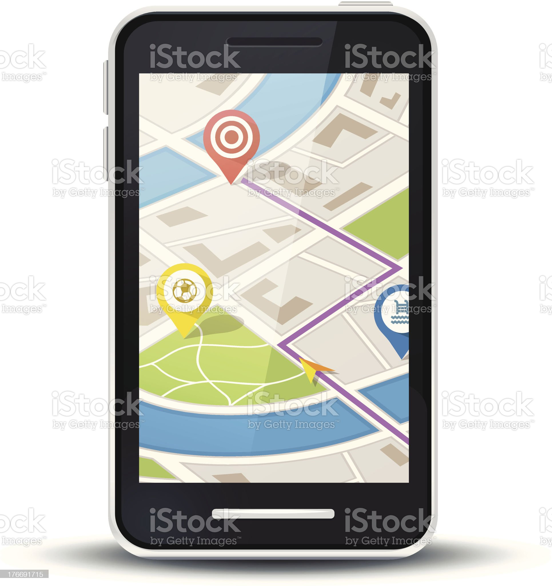 mobile phone with gps map application royalty-free stock vector art