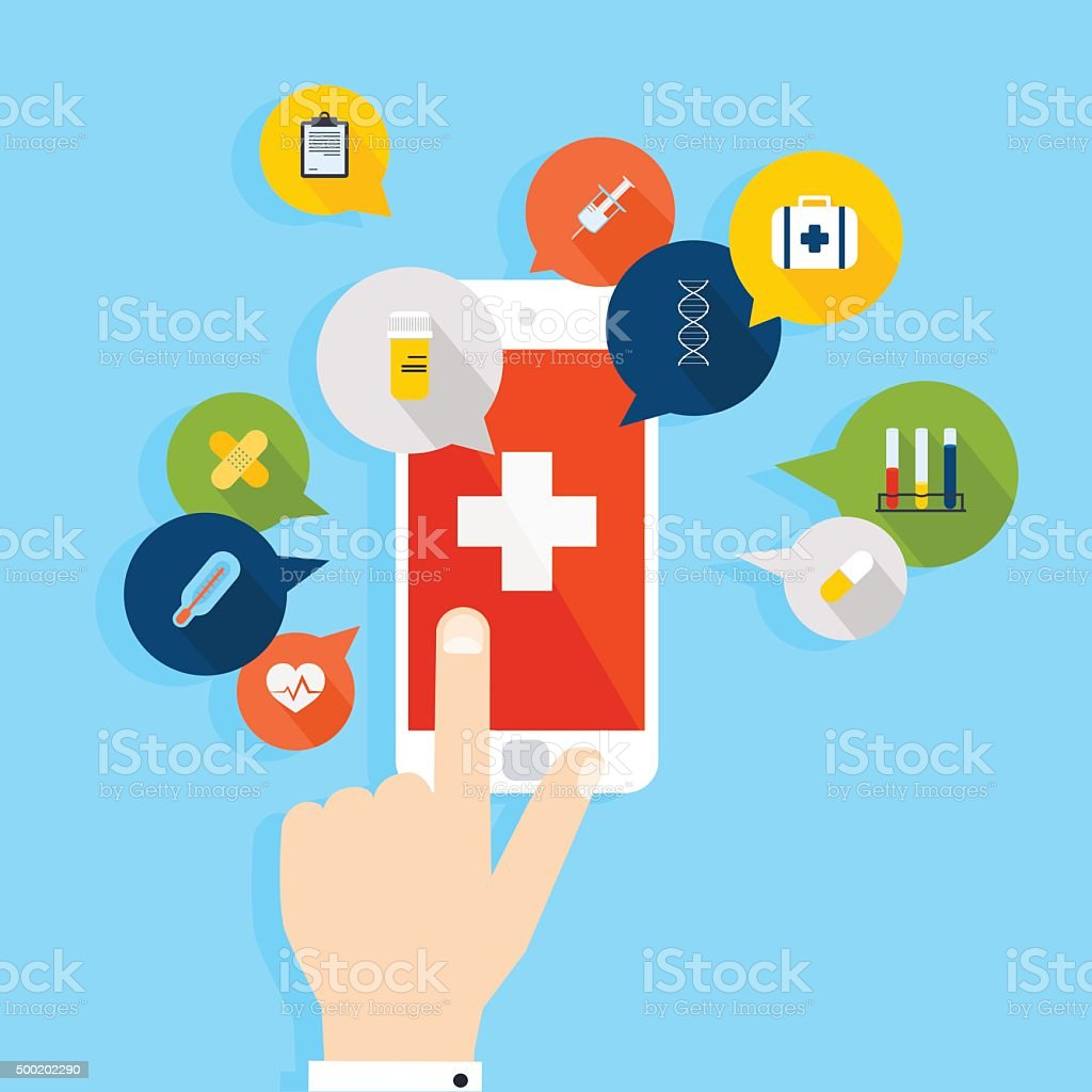 Mobile phone with health application open with hand. Vector mode vector art illustration