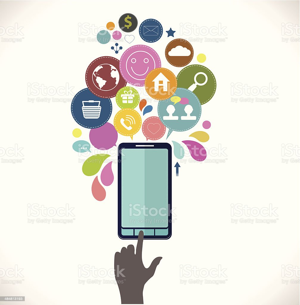 Mobile phone with icons, Colorful Concept of communication, love vector art illustration