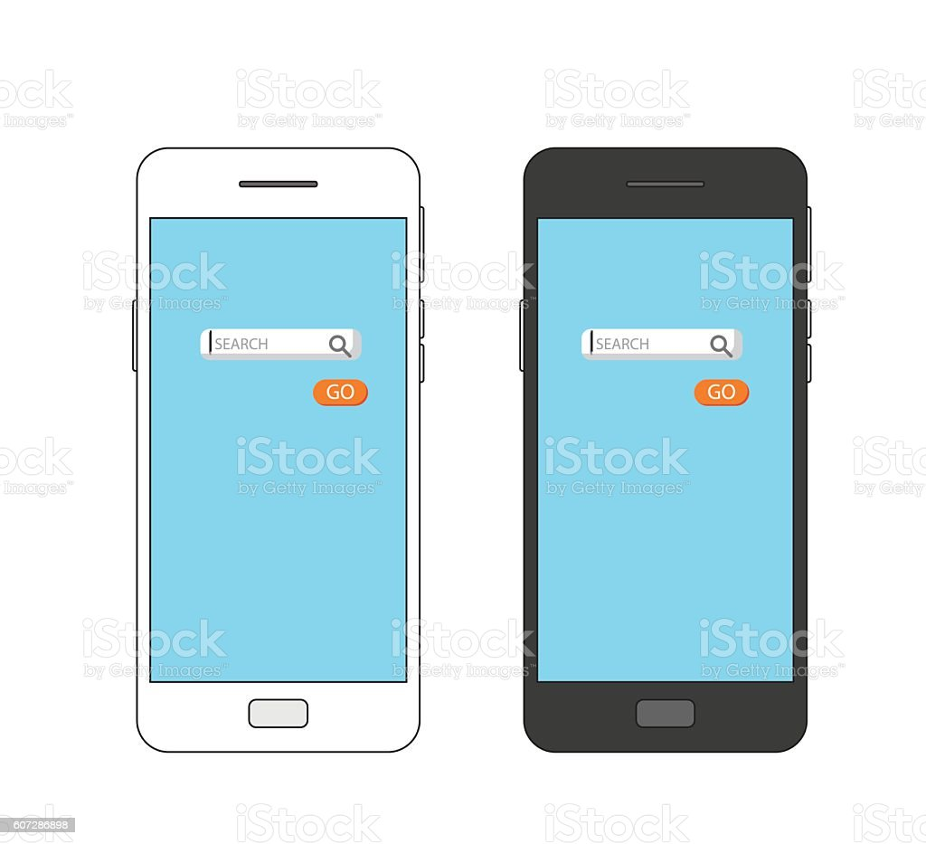 mobile phone with internet searching field and search button vector art illustration