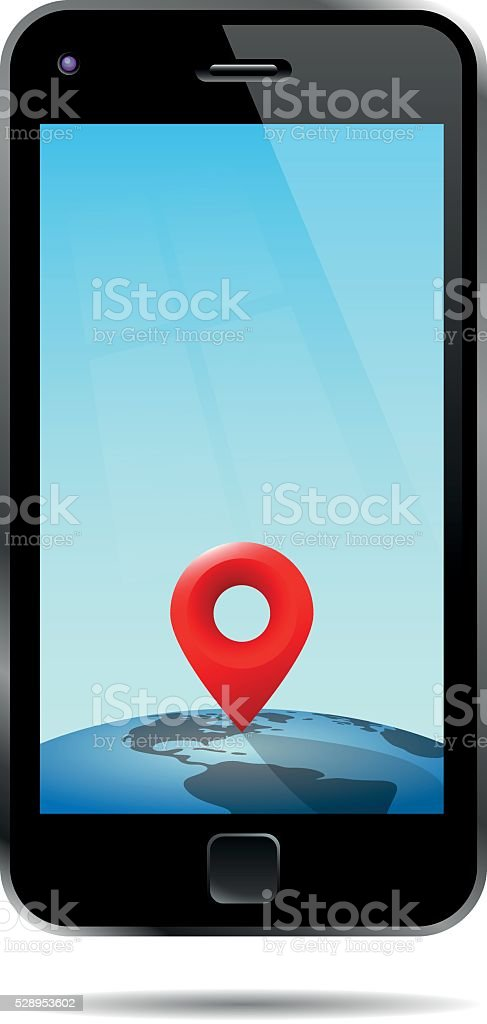 Mobile Phone With Location Pin vector art illustration