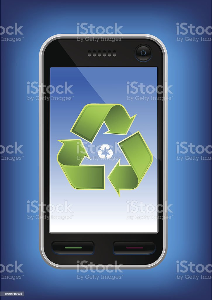 Mobile phone with recyckling sign on it's screen royalty-free stock vector art