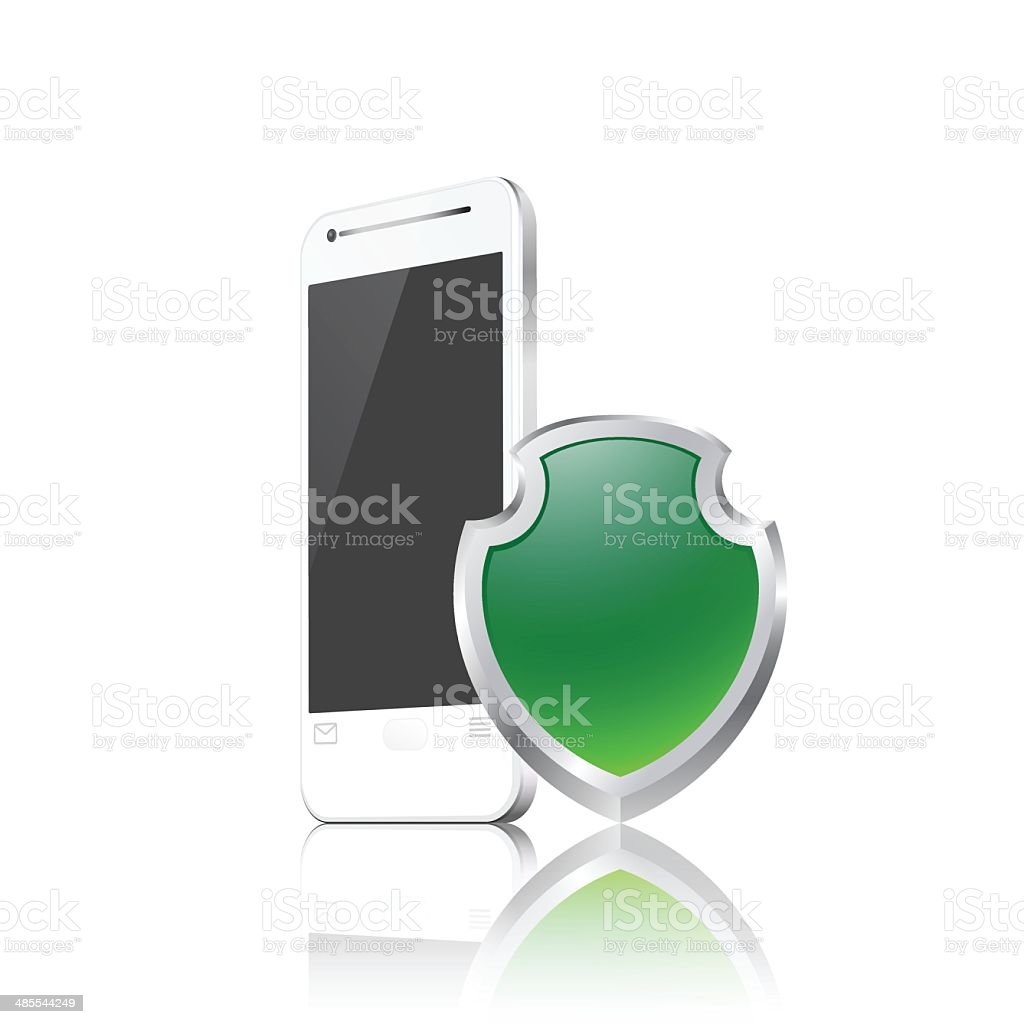 Mobile phone with shield royalty-free stock vector art