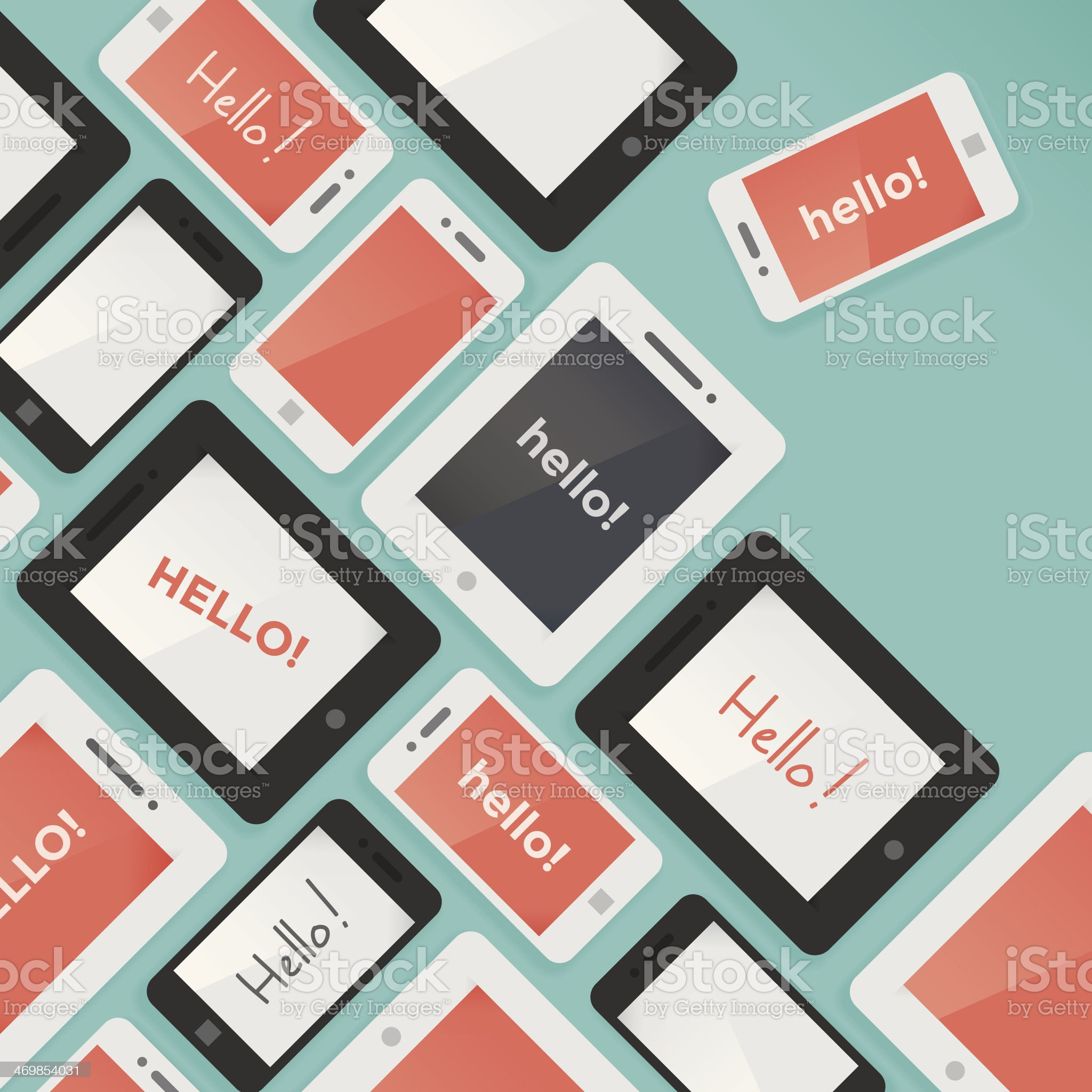 Mobile phones and tablet computers with Hello text background royalty-free stock vector art