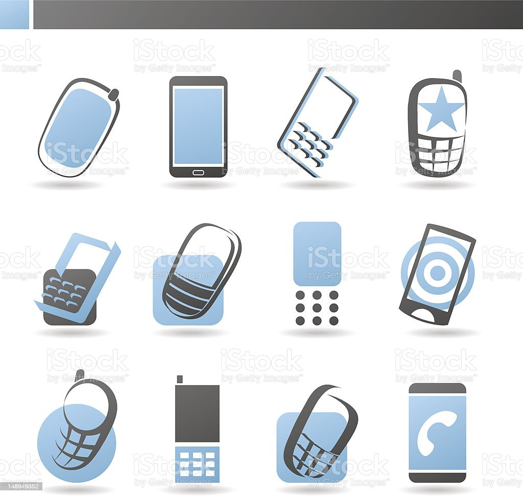 Mobile phones. Collection of design elements. royalty-free stock vector art