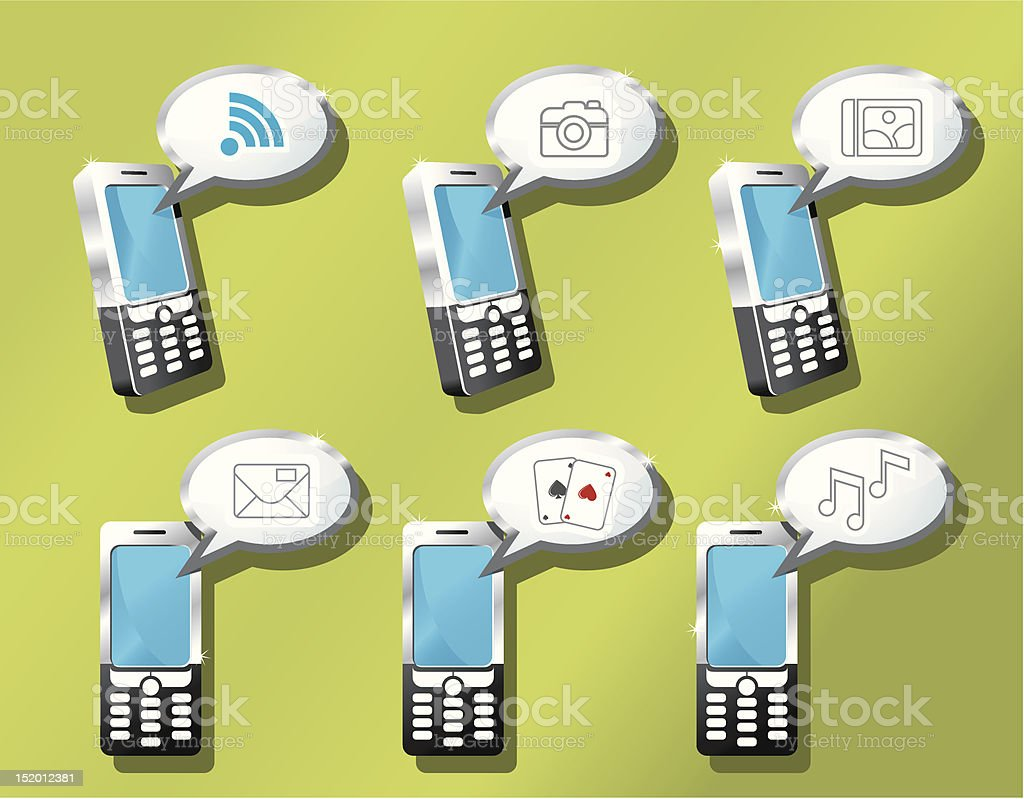 Mobile phones icon set royalty-free stock vector art