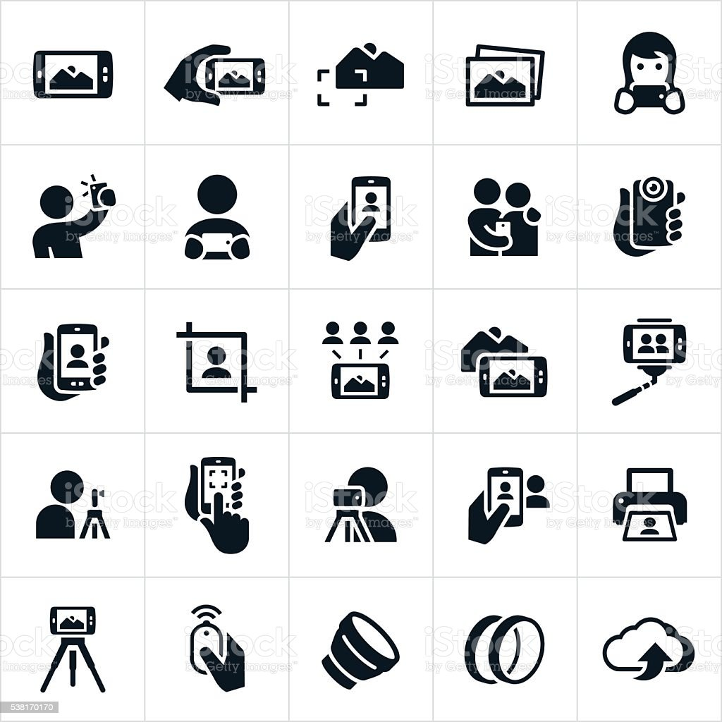 Mobile Photography Icons vector art illustration