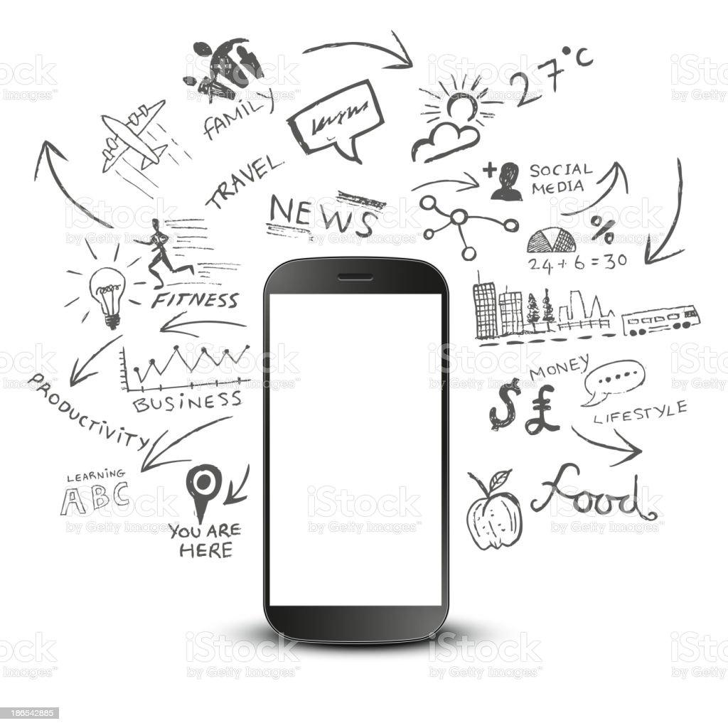 Mobile Productivity vector art illustration