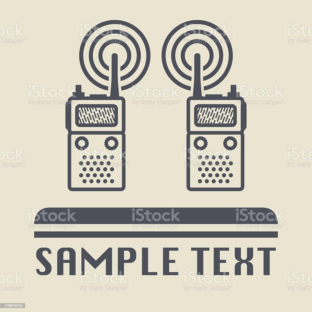 Mobile radio icon or sign vector art illustration