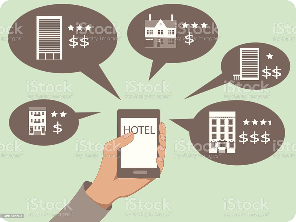 Mobile search for hotels vector art illustration