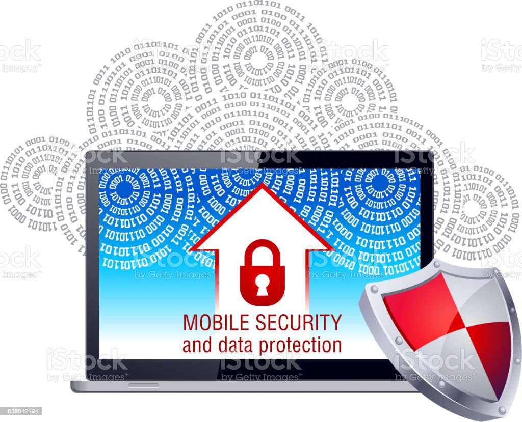 Mobile security and data protection vector art illustration