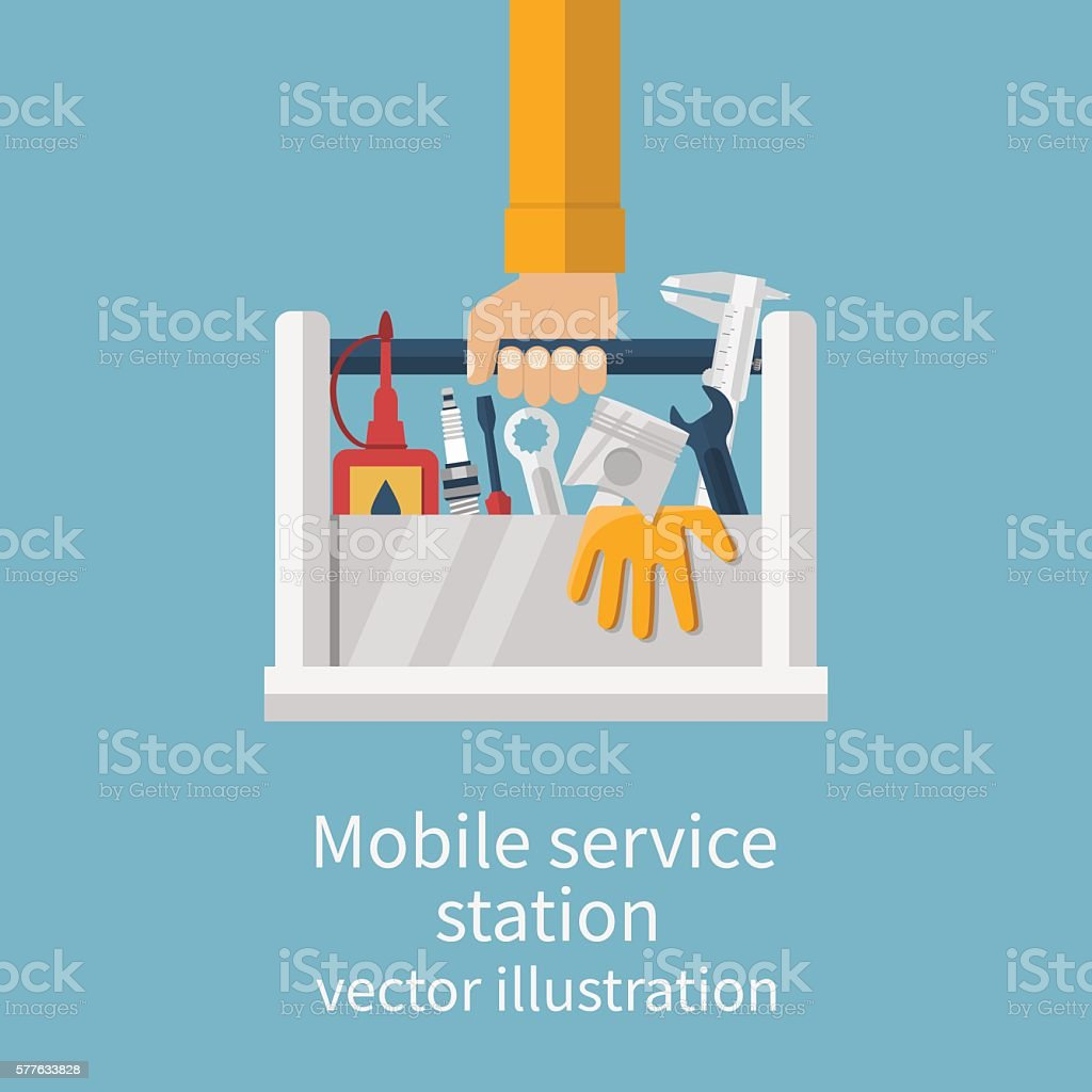 Mobile service station auto vector art illustration