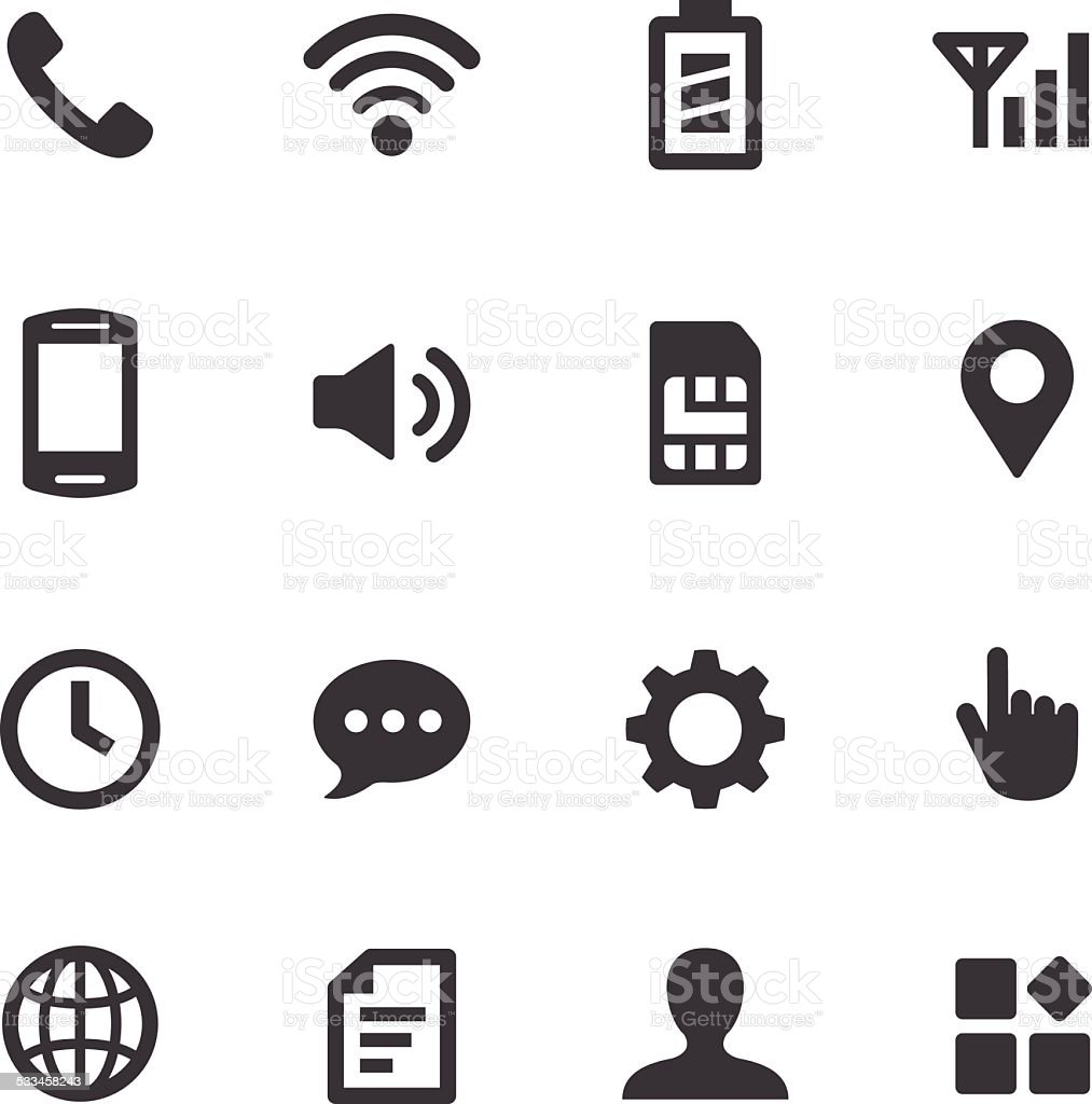 Mobile Setting Icons - Acme Series vector art illustration
