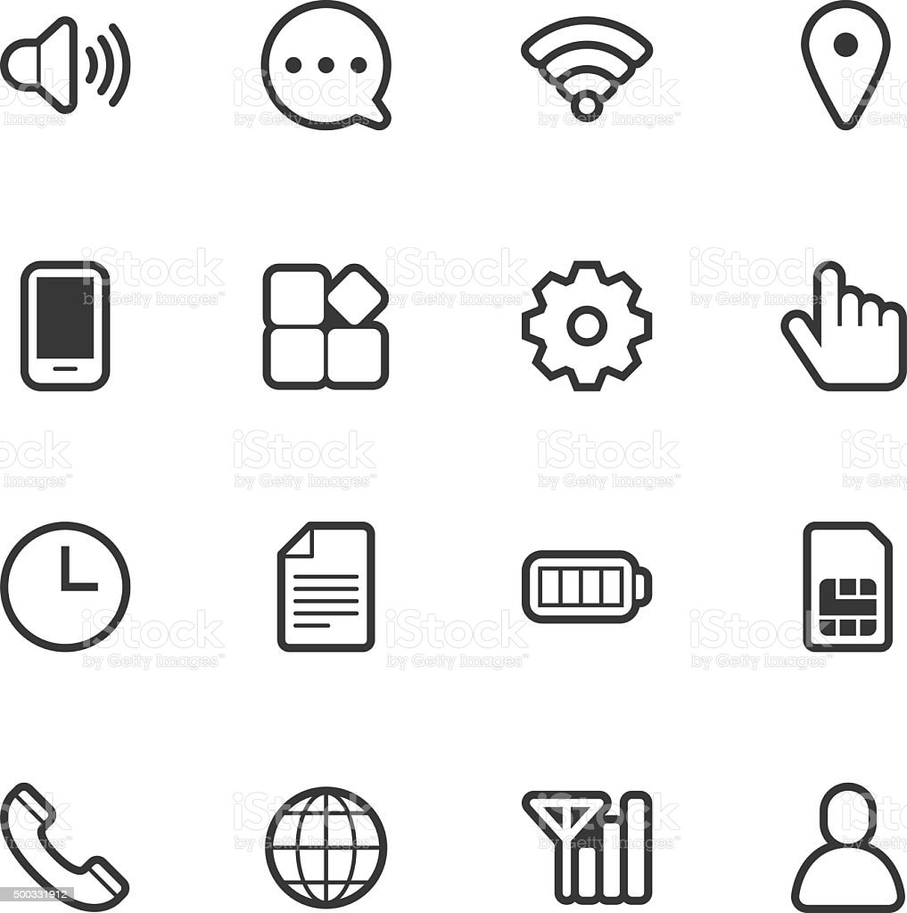 Mobile setting icons - Regular Outline vector art illustration