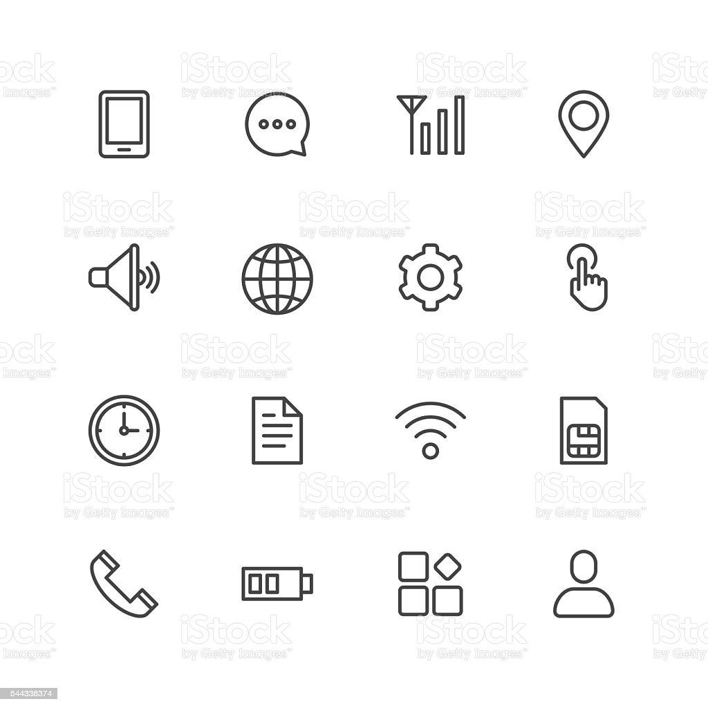 Mobile setting icons vector art illustration