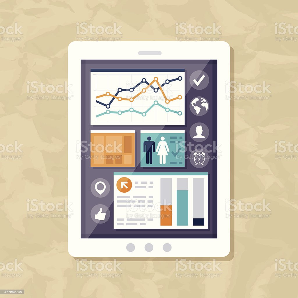 Mobile Statistics and Data royalty-free stock vector art
