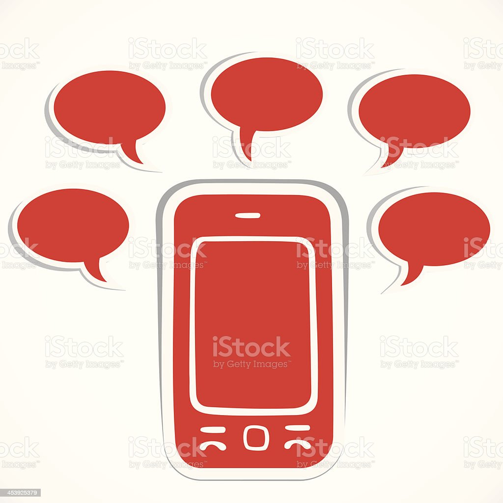 mobile sticker with message bubble royalty-free stock vector art