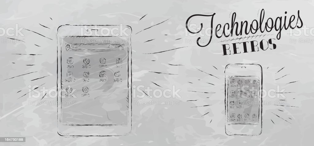 Mobile tablet device chalk icons gray royalty-free stock vector art