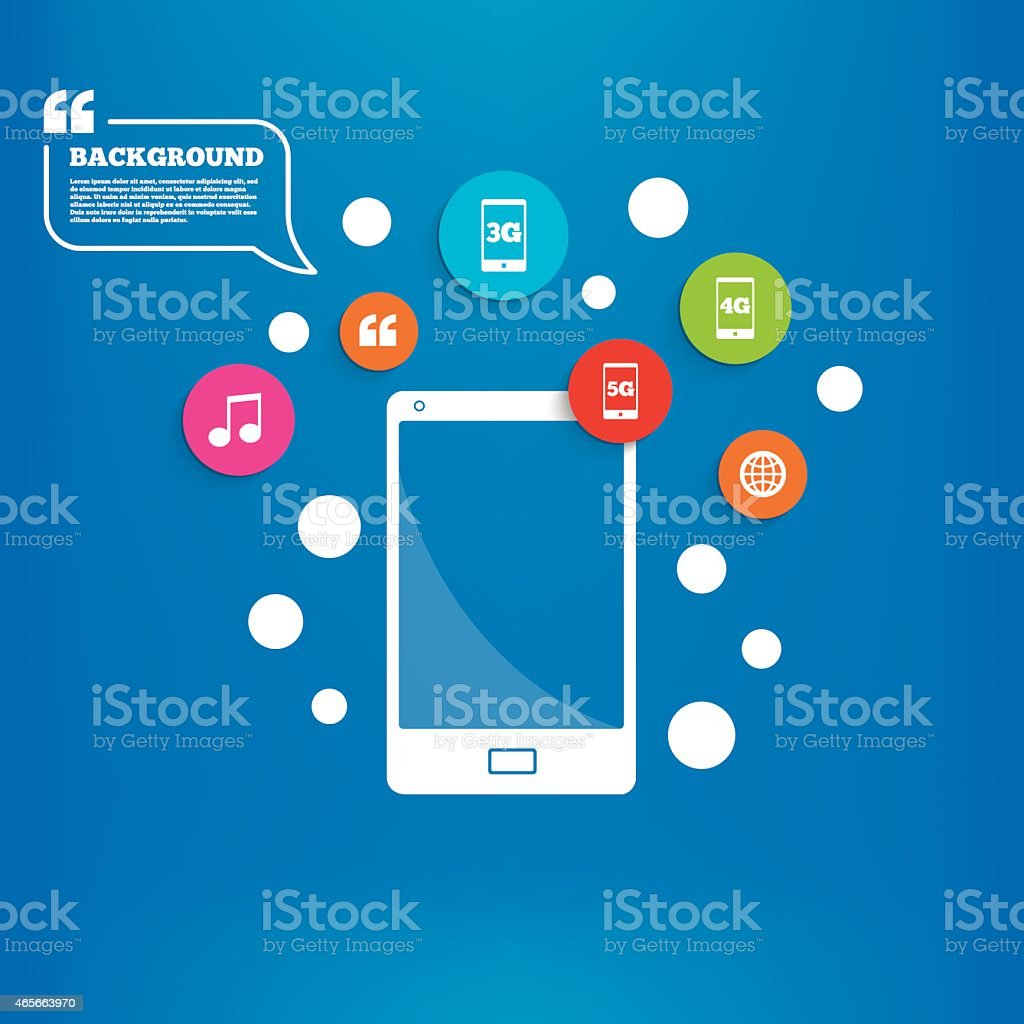 Mobile telecommunications icons. 3G, 4G and 5G vector art illustration