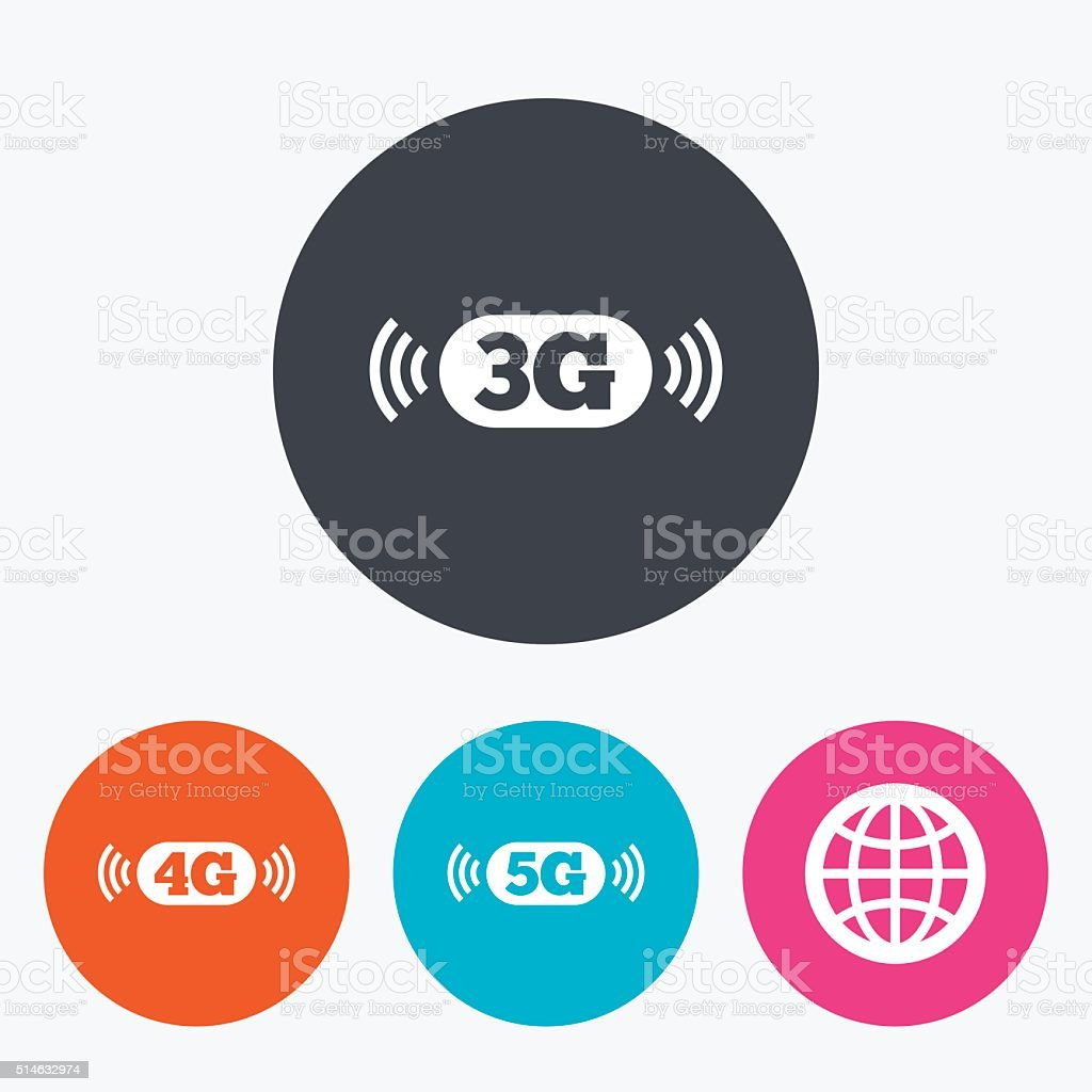 Mobile telecommunications icons. 3G, 4G and 5G. vector art illustration