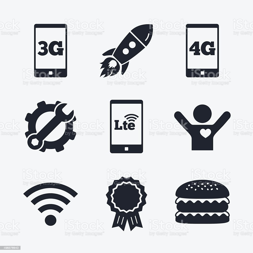 Mobile telecommunications icons. 3G, 4G and LTE vector art illustration