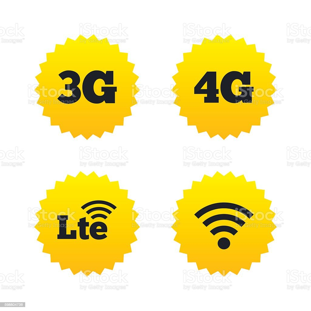 Mobile telecommunications icons. 3G, 4G and LTE. vector art illustration
