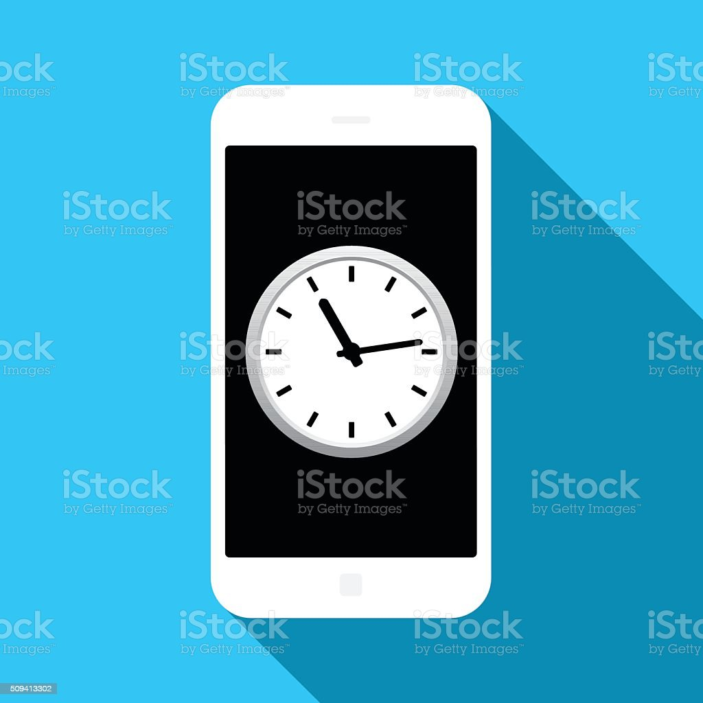 Mobile time management icon vector art illustration