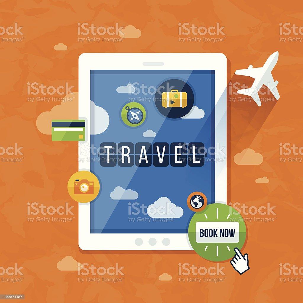Mobile Travel vector art illustration