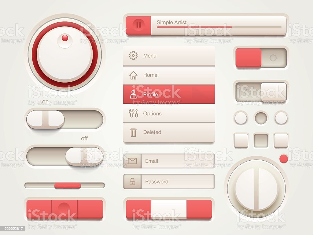 Mobile User interface set vector art illustration