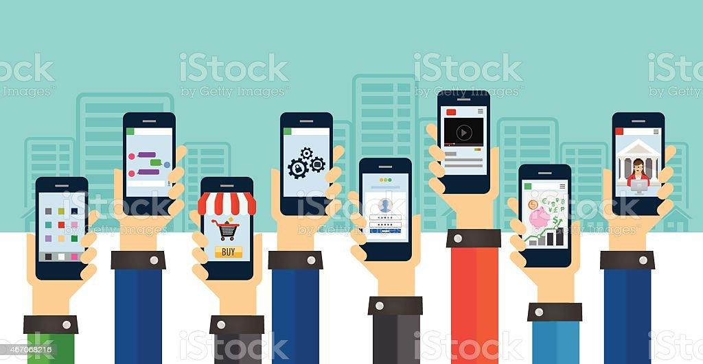 mobile users vector art illustration