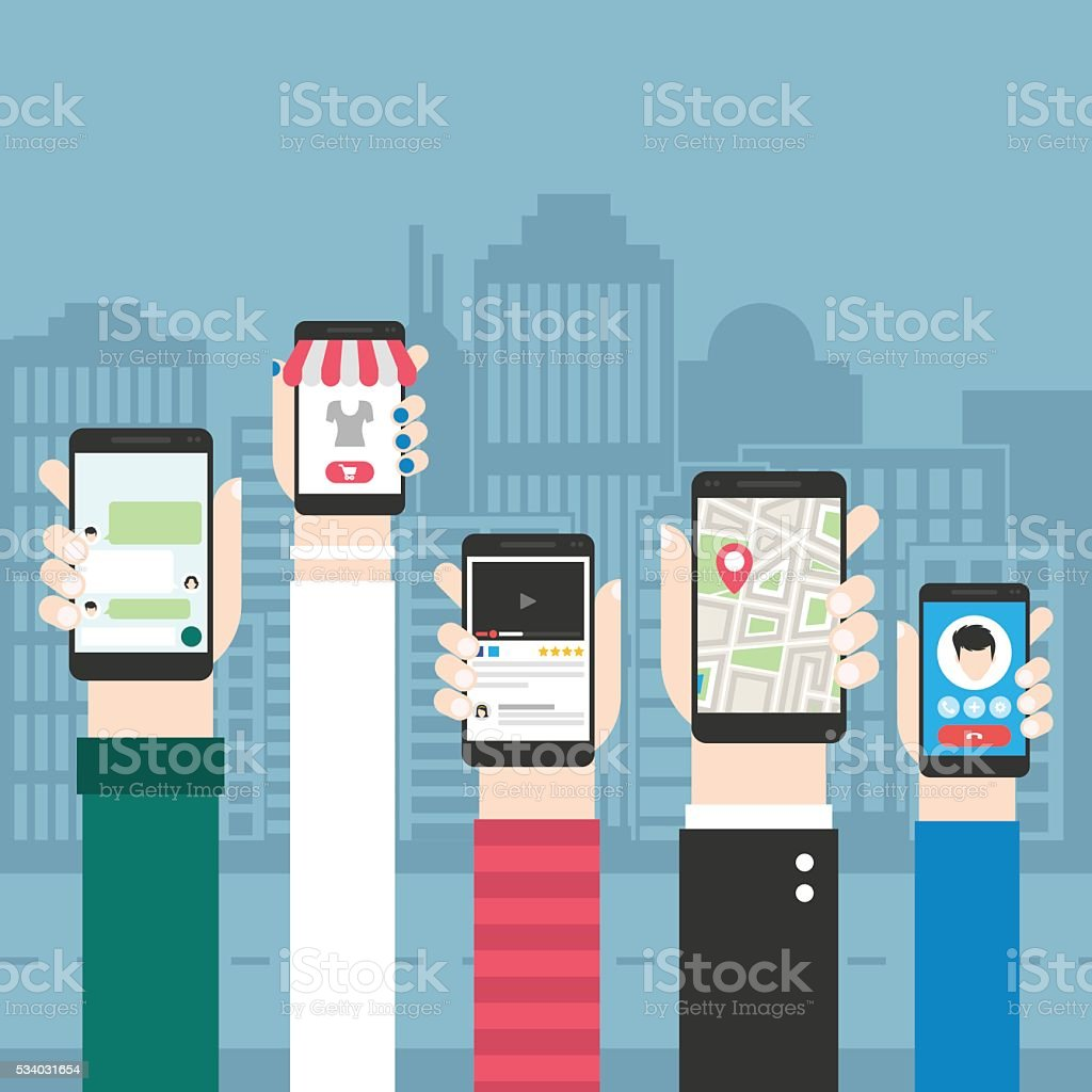 Mobile users vector art illustration
