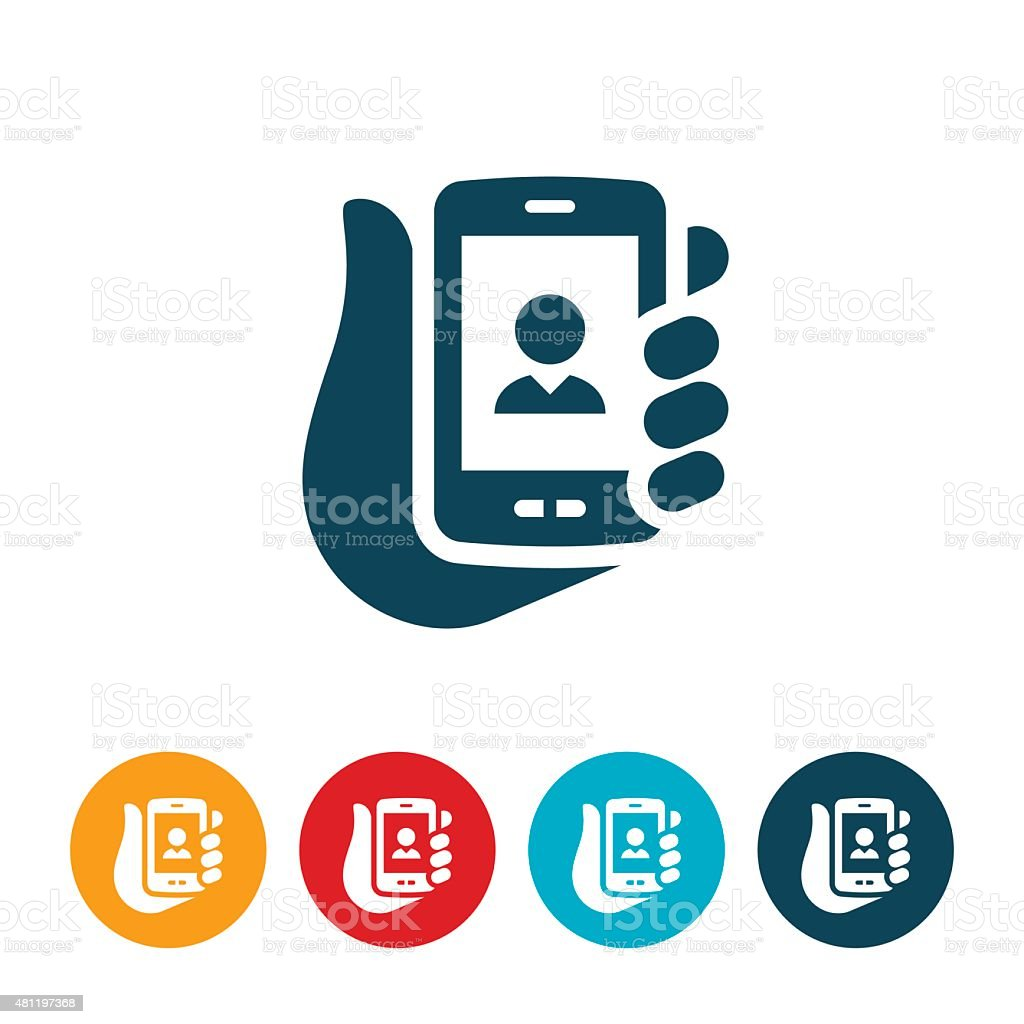 Mobile Video Chat Icon vector art illustration