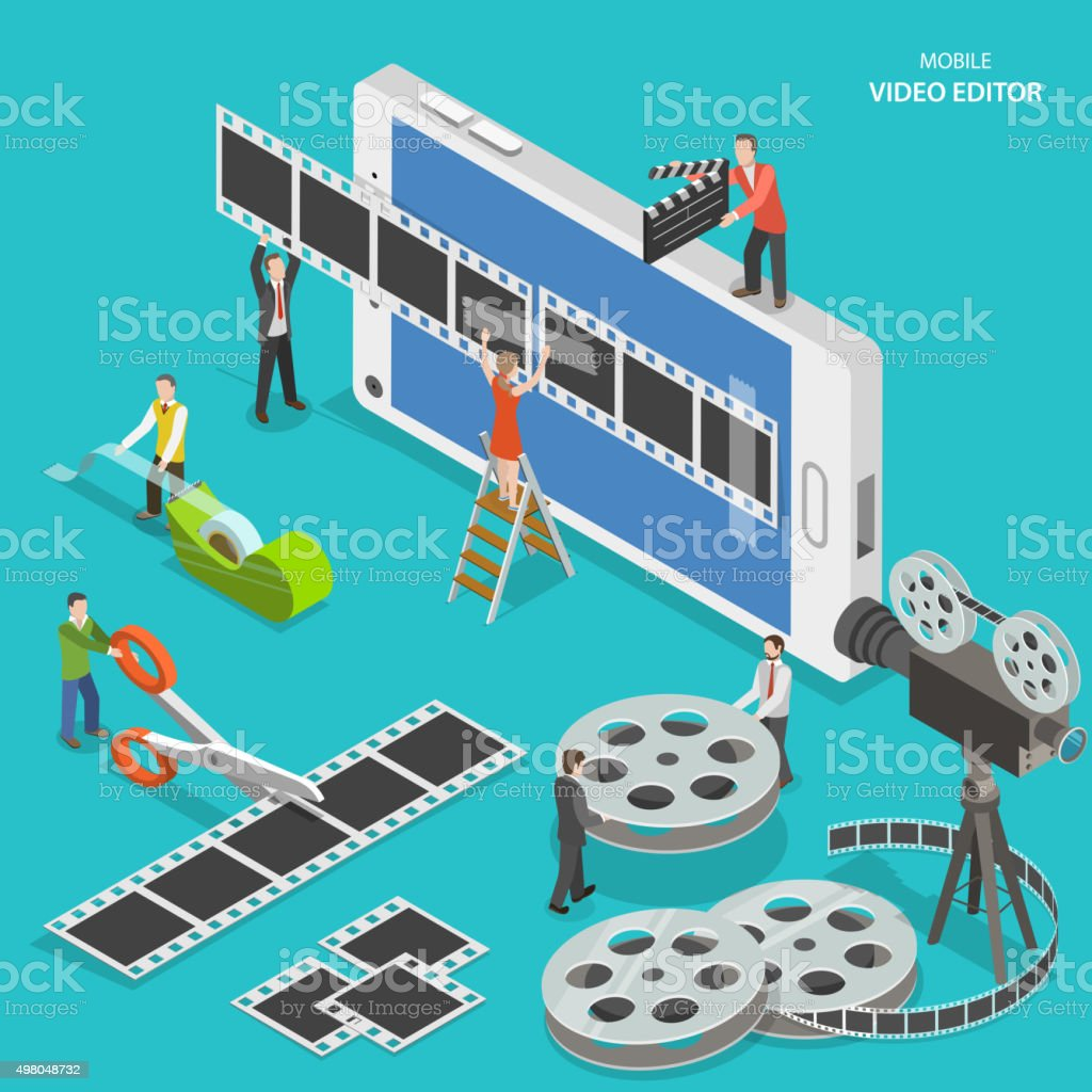 Mobile video editor flat isometric vector concept. vector art illustration