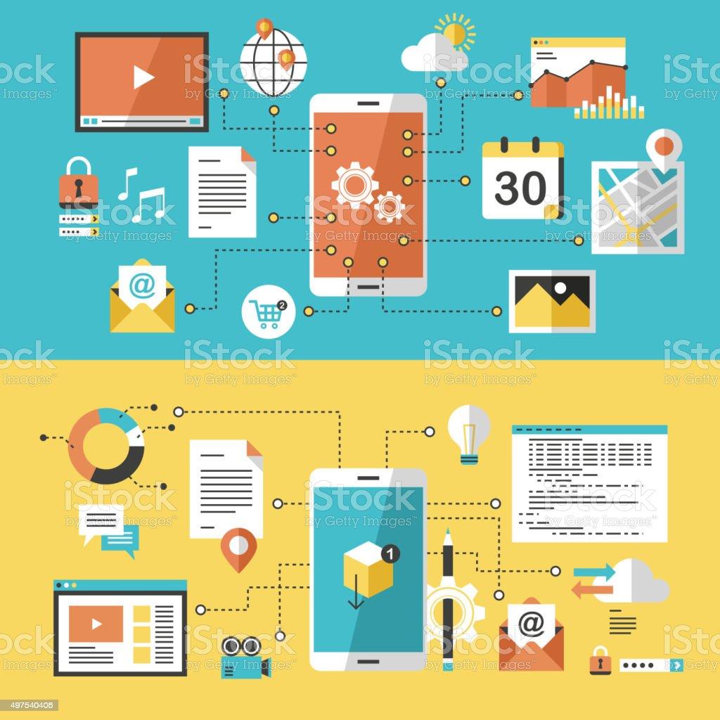 mobile website and app design vector art illustration