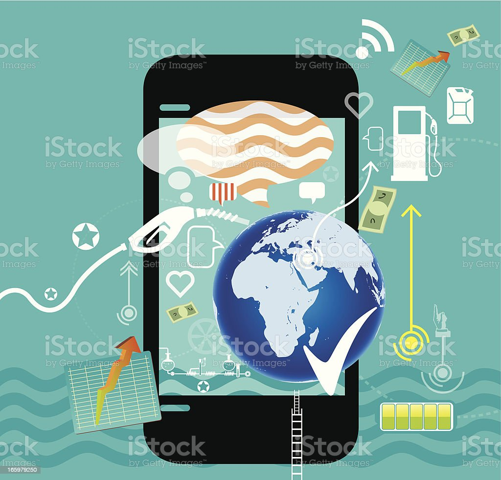 Mobile with Oil industry vector art illustration