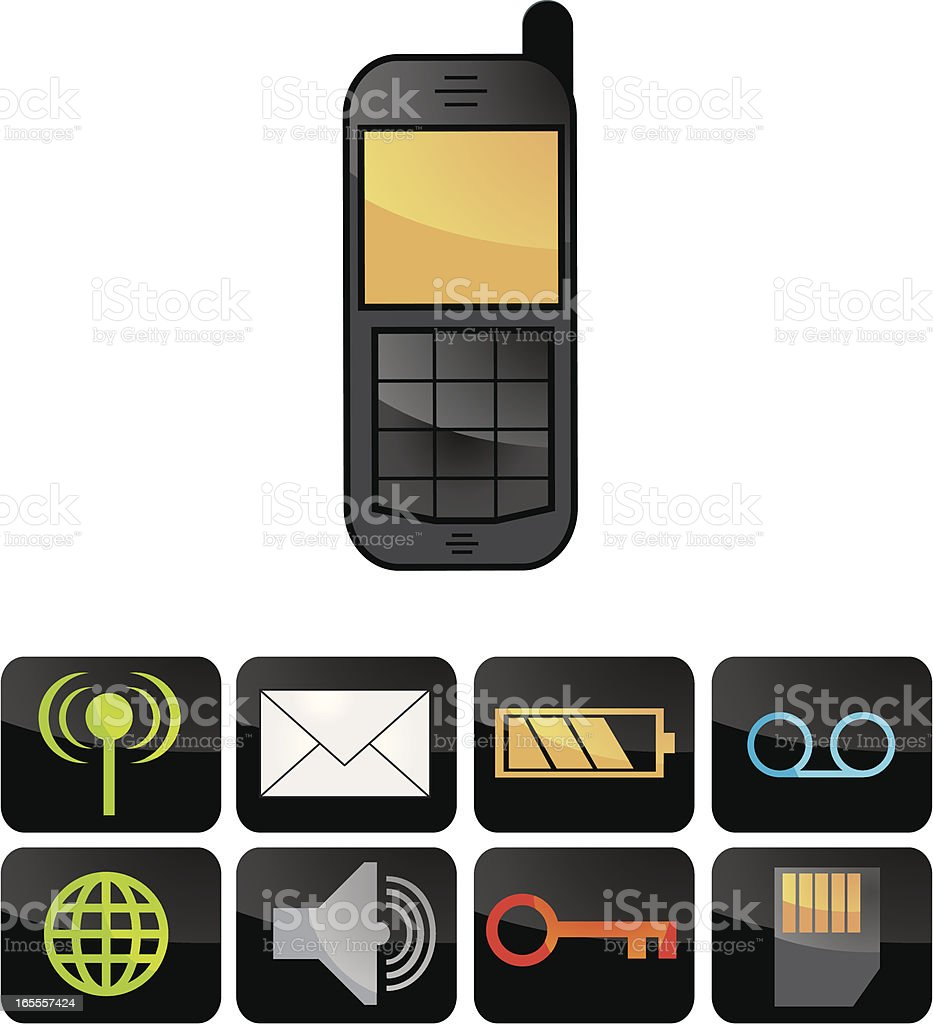 Mobile/Cellular Phone and icons vector art illustration